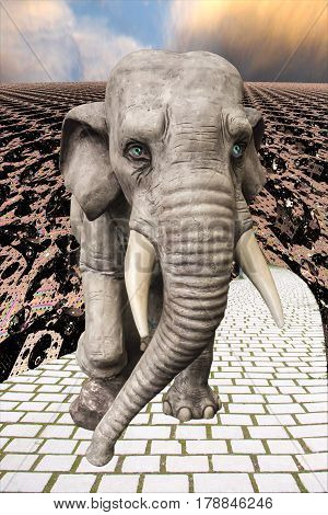The figure of an elephant against a background of a fantastic urban landscape. Science fiction. The symbol of the Indian god Ganesha.