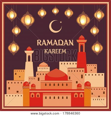 Ramadan greeting card with the image of the beautiful  lanterns and mosque. Vector template