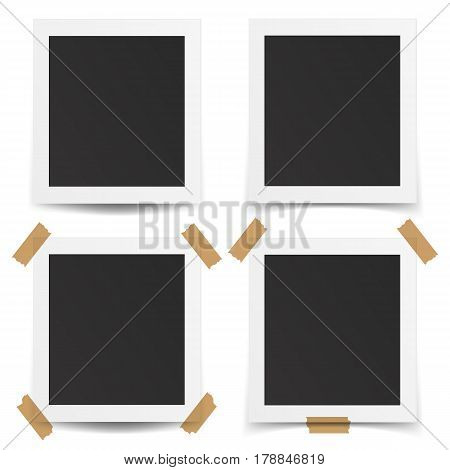 Set of realistic old photo frames isolated on white background. Template retro photo design. 3D illustration.
