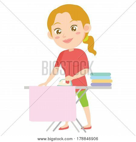 Character of housewife ironing design style vector illustration