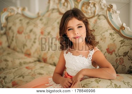 Little beautiful girl with brown hair in a dress