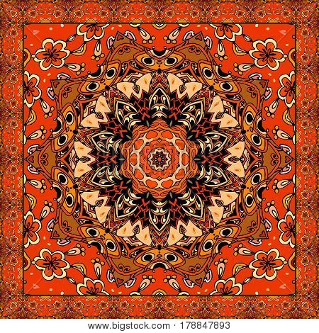 Lovely tablecloth or beautiful scarf with flower - mandala in ethnic style with ornamental frame. Vector illustration. Festive print.