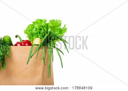 Grocery shop bag with vegetables, salad, bread and other groceries. Isolated.