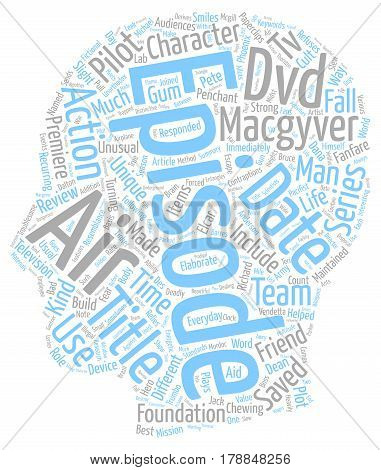 Macgyver DVD Review text background wordcloud concept poster