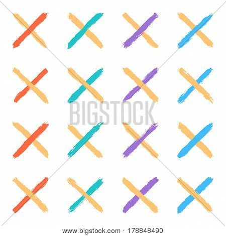 Set of sixteen brushstrokes crosswise two color paint created in sketch drawing handmade technique. Quick and easy recolorable vector illustration graphic element
