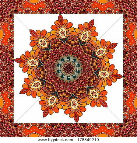 Greeting card or wedding invitation with flower - mandala in indian style. Lovely tablecloth, shawl, beautiful blanket, festive pillowcase, carpet. Print for fabric, wrapping design. Vector image.