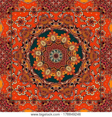 Lovely tablecloth or beautiful scarf with flower - mandala in ethnic style with ornamental frame. Vector illustration. Bandana print.
