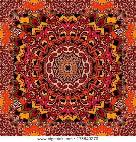 Lovely tablecloth or beautiful scarf with flower - mandala in ethnic style with ornamental frame. Vector illustration. Blanket.