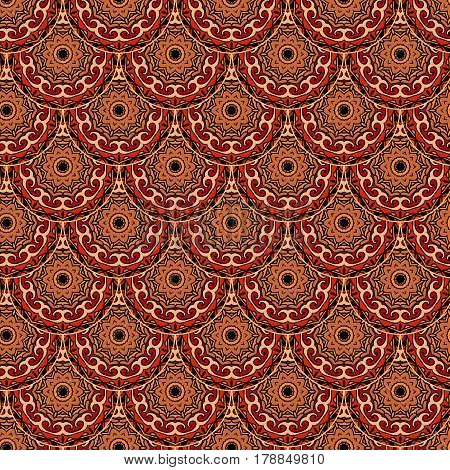 Fish-scales seamless vector pattern with flower - mandala in ethnic style. Print for fabric. Packaging design.