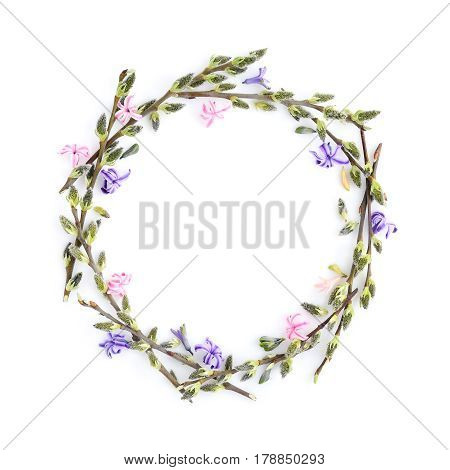 Pussy-willow Branches With Flowers Hyacinth Circle Frame. Decorative Wreath On White Background Perf