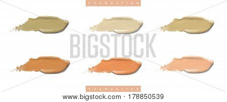 Cosmetic liquid foundation cream set in different colour smudge smear strokes. Make up smears isolated on white background