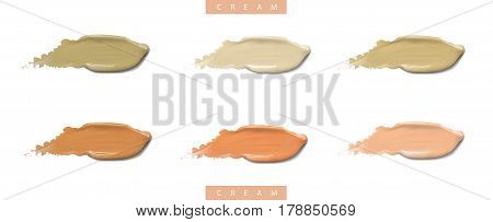 Cosmetic liquid cream foundation set in different colour smudge smear strokes. Make up splashes smears isolated on white background