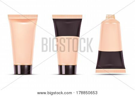 Cosmetic plastic tube. Foundation cream container isolated on white background. Beauty product package, vector illustration