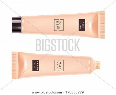 Cosmetic plastic tube. Foundation cream container isolated on white background. Beauty make up product package, vector illustration