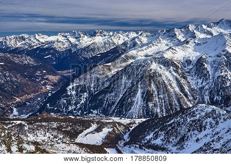 Panoramic winter view of mountains in Pejo Italy