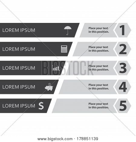 Infographic design template with business icons and 5 options for workflow layout diagram web design marketing and sales concept. Vector illustration.