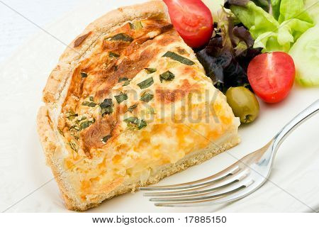 Quiche With Salad On A Plate