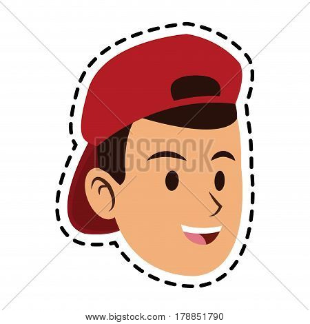 face of happy young man with backwards hat icon image vector illustration design