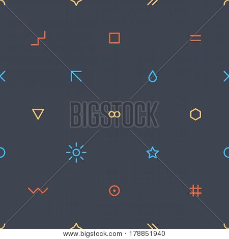 Abstract seamless pattern with red yellow and blue colors simple shapes in flat thin style on gray background. You can quickly and easily repaint this vector illustration