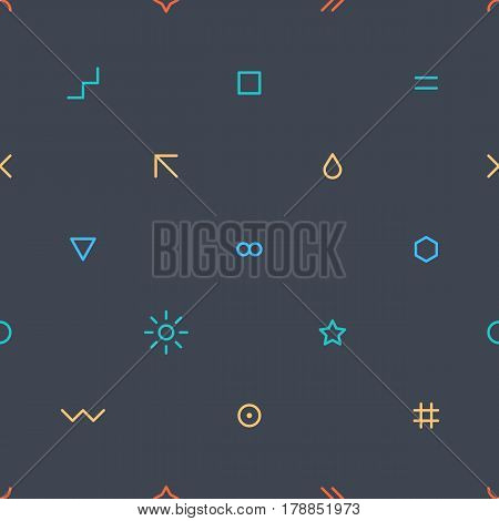Abstract seamless pattern with green red yellow and blue colors shapes in flat thin style on gray background. You can quickly and easily repaint this vector illustration