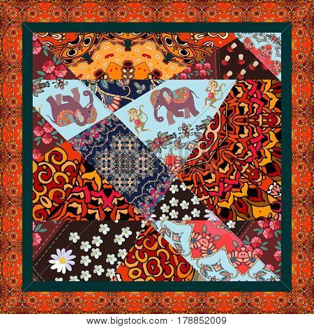 Square patchwork rug with ornamental border in indian style. Blanket or tablecloth.