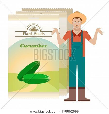Vector image of the Pack of Cucumber seeds icon