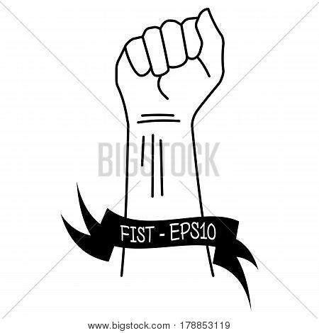 Vector illustration of a black thin line of hand clenched into a fist and ribbons with an inscription of a fist - EPS10 on a white background.