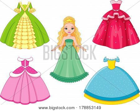 Beautiful doll princess paper  with dress set