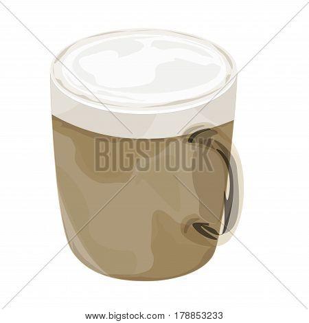 Hot cappuccino coffee vector icon ,cappuccino ,