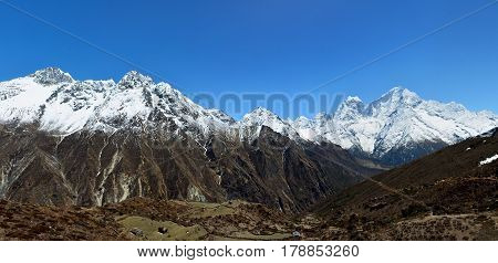 Panoramic View Of The Himalayan Mountains On The Way To Gokyo Lakes, Nepal. Trek To Everest Basecamp