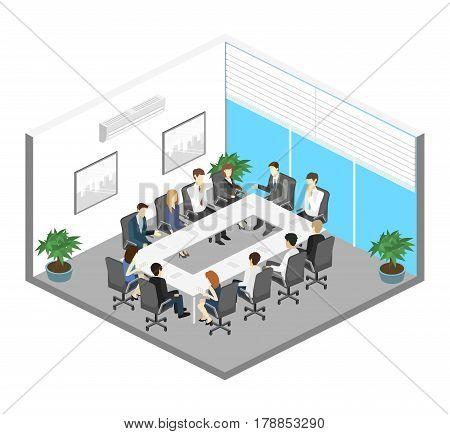 Business meeting in an office Business presentation meeting in an office around a table. Isometric flat 3D interior