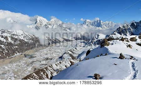Beautiful Panoramic Evening View Of The Gokyo Valley And Cho-ou Glacier From The Top Of The Mt. Goky
