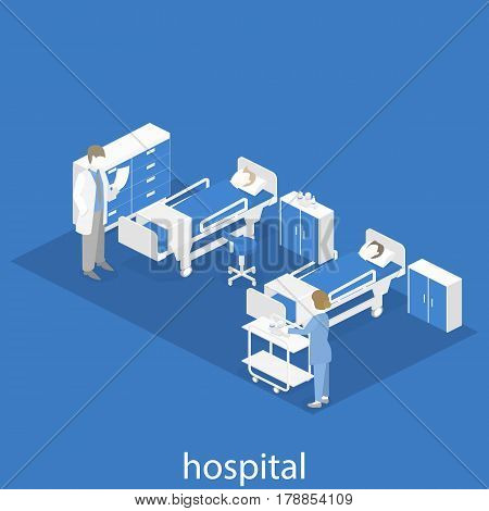 Flat 3D Illustration Isometric Interior Of Hospital Room.