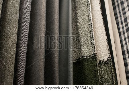 Set of multi-colored fabrics background texture for decor.