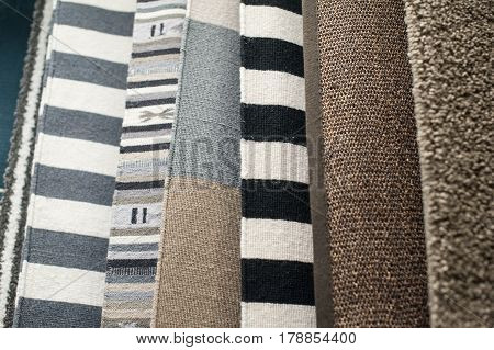 Selection of multi-colored fabrics background texture decor