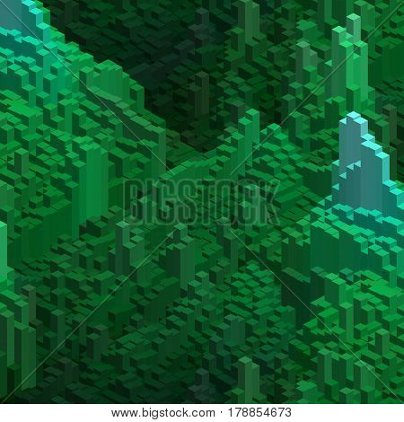 Abstract Background With 3D Green Cubes. Vector Cube Box For Business Concepts.