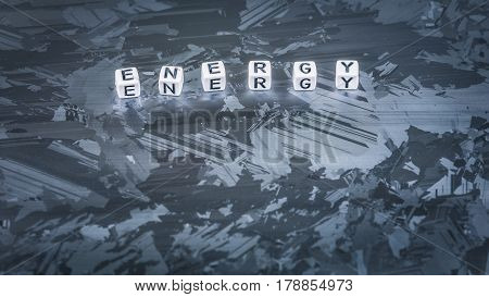 ENERGY cube letter on solar silicon cell surface. Concept of renewable clean energy.