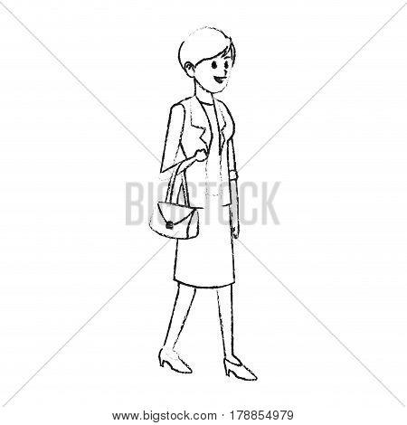 happy pretty woman wearing blazer icon image vector illustration design