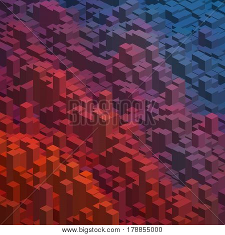 Abstract Background With Orange, Brown, Blue Cubes. Vector Cube Box For Business Concepts