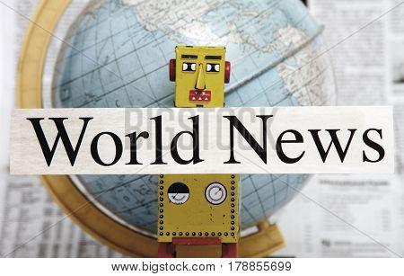 vintahe yellow News robot