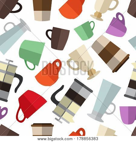 Seamless pattern background with  simple colorful coffee cups and french press flat icons vector illustration