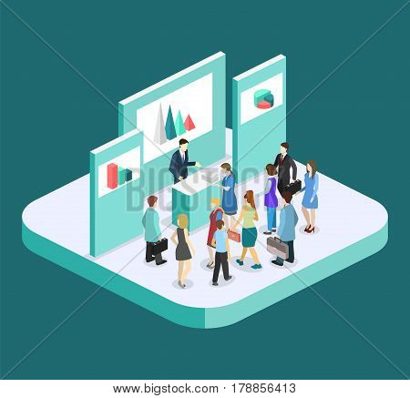 Isometric Flat 3D Concept Vector Exhibition Or Promotion Stand.