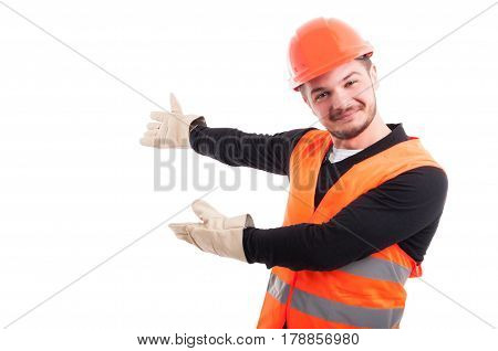 Portrait Of Young Worker Making An Invitation Gesture