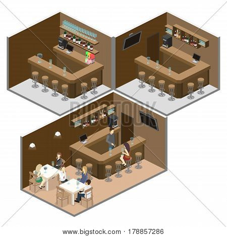 Isometric 3D Flat Interior Of Bar Or Pub. The Chairs Stand Around The Bar.