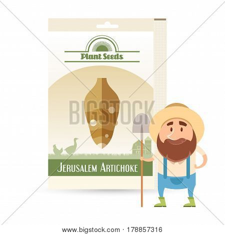 Vector image of the Pack of Jerusalem Artichoke seeds icon