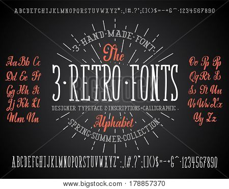 Font chalk combination, for your design, handwritten and modular