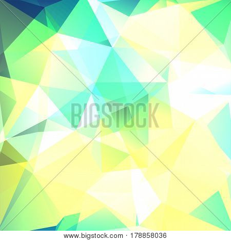 Polygonal vector background. Can be used in cover design, book design, website background. Vector illustration. Yellow, green, white colors.