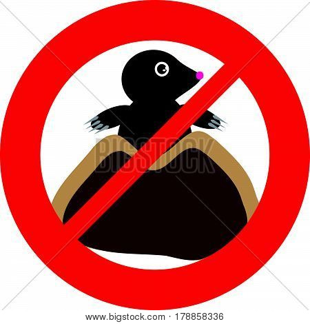 No mole symbol on white background. Vector illustration.