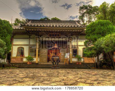 Beitou Taiwan - October 06 2016: Small Taoist Temple in Beitou