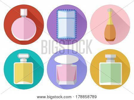 Set of simple perfumery flat icons with long shadows on color circles background vector illustration